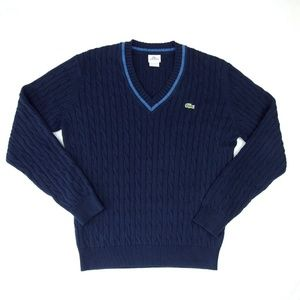 Lacoste Sport V Neck Cotton Cable Knit Sweater